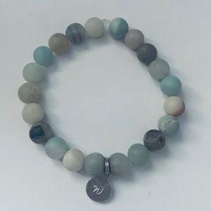 Amazonite Gemstone Bracelet with Engraved Charm